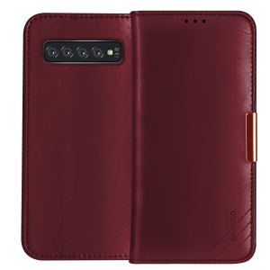 DZGOGO Royale Series II Genuine Leather Cover with Wallet Stand for Samsung Galaxy S10 Plus - Red