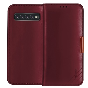 DZGOGO Royale Series II Genuine Leather Phone Cover with Stand Wallet for Samsung Galaxy S10e - Red