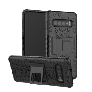 2-in-1 Tyre Pattern PC + TPU Hybrid Mobile Phone Case with Kickstand for Samsung Galaxy S10 Plus - All Black