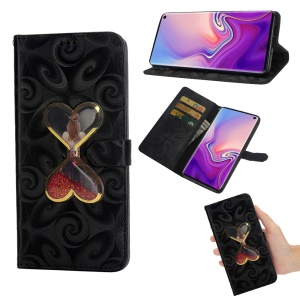 Spiral Texture Hearts Quick Sand Girl Pattern Leather Wallet Case for Samsung Galaxy S10 Lite - Black