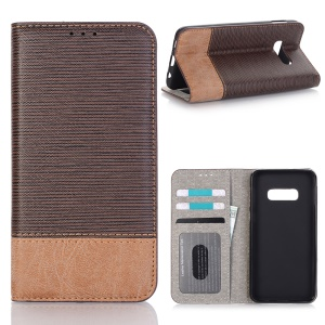 Bi-color Toothpick Texture Leather Wallet Case for Samsung Galaxy S10e - Coffee