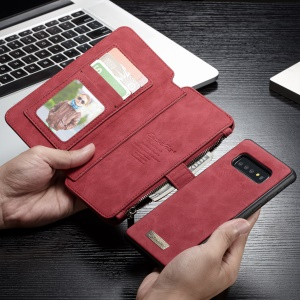 CASEME Detachable 2-in-1 Split Leather Wallet Case for Samsung Galaxy S10 - Red