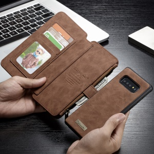 CASEME 007 Series Detachable 2-in-1 Split Leather Shell with Wallet for Samsung Galaxy S10 - Brown