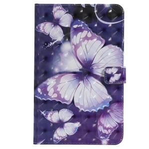 Pattern Printing PU Leather Wallet Stand Cover for Samsung Galaxy Tab A 8.0 (2018) SM-T387 - Purple Butterflies