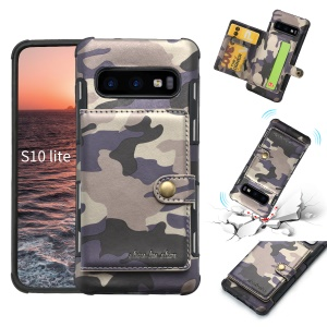 SHOUHUSHEN Card Holder Cover for Samsung Galaxy S10 Lite Camouflage Leather Coated PC TPU Cover - Purple