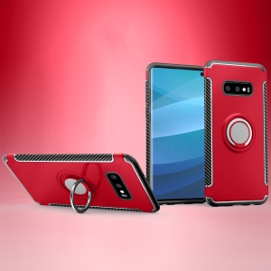 Ring Holder TPU PC Armor Case for Samsung Galaxy S10e - Red