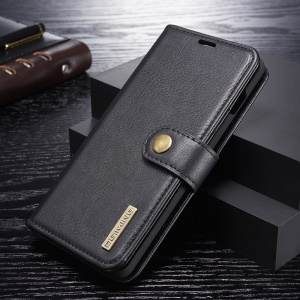 DG.MING Detachable 2-in-1 Split Leather Wallet Shell + PC Back Case for Samsung Galaxy S10 Plus - Black