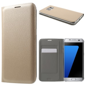 Litchi Texture Flip Leather Phone Case for Samsung Galaxy S7 edge G935 - Gold