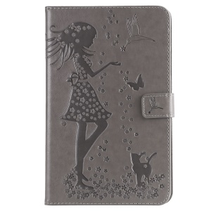 [Imprint Girl and Cat] Leather Tablet Case for Samsung Galaxy Tab A 8.0 (2018) SM-T387 - Grey