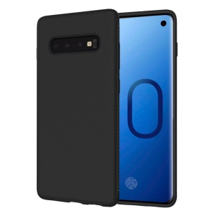 LENUO Twill Texture TPU Back Case Cover for Samsung Galaxy S10 Plus - Black