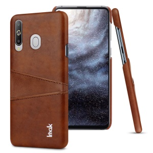 IMAK Ruiyi Card Holder Series Leather Coated Plastic Hard Cover for Samsung Galaxy A8s - Brown
