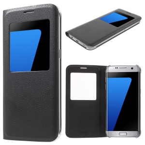 Litchi Texture View Window Leather Case for Samsung Galaxy S7 edge G935 - Black