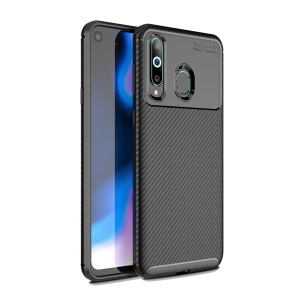 Drop Resistant Carbon Fiber TPU Case for Samsung Galaxy A8s - Black