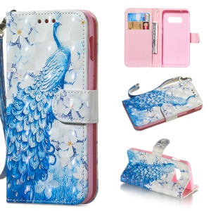 Light Spot Decor Patterned Leather Wallet Case for Samsung Galaxy S10 Lite - Peacock