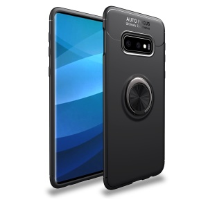 Finger Ring Kickstand TPU Case (Built-in Magnetic Metal Sheet) for Samsung Galaxy S10 Plus - All Black