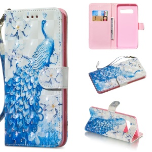 Light Spot Decor Patterned Wallet Leather Stand Case for Samsung Galaxy S10 - Peacock