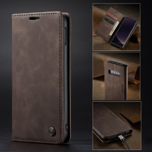 CASEME for Samsung Galaxy S10e PU Leather Mobile Phone Case [Auto-absorbed] [Wallet Stand] - Coffee