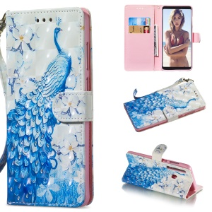 [Light Spot Decor] Patterned Leather Stand Cover for Samsung Galaxy A9 (2018) A920 / A9 Star Pro / A9s - Peacock