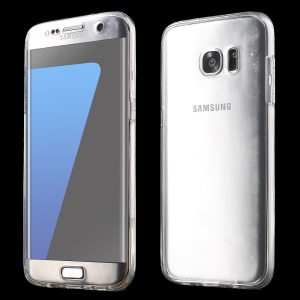 Snap-on Front + Back Clear TPU Case for Samsung Galaxy S7 edge G935 - Transparent