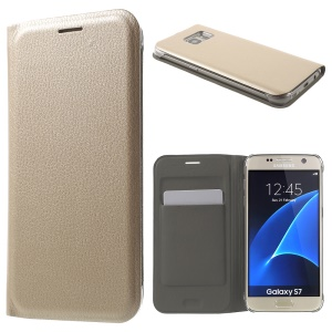 Litchi Texture Leather Phone Case with Card Holder for Samsung Galaxy S7 G930 - Gold