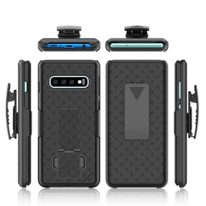 For Samsung Galaxy S10 Plus Swivel Belt Clip Kickstand Holster PC TPU Hybrid Cover [Woven Texture ] - Black