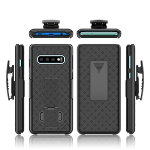 For Samsung Galaxy S10 Woven Texture Swivel Belt Clip Holster PC + TPU Hybrid Cover - Black