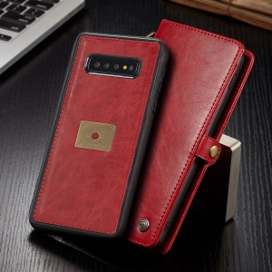 CASEME Split Leather Wallet Case + Detachable Phone Cover for Samsung Galaxy S10 Plus - Red