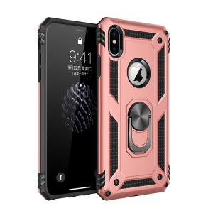 Hybrid PC TPU Armor Case with Kickstand for iPhone XS/X 5.8 inch - Rose Gold