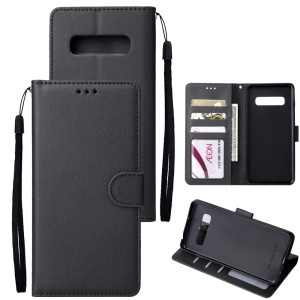 Wallet Leather Stand Case for Samsung Galaxy S10 Plus - Black