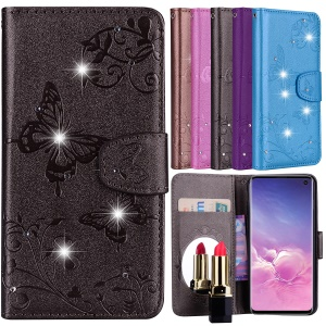 Imprinted Butterfly Flower Pattern Rhinestone Leather Wallet Case for Samsung Galaxy S10e - Black