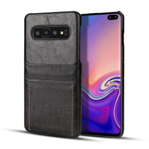 Dual Card Slots PU Leather PC Hard Cover for Samsung Galaxy S10 Plus - Black