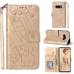 Imprinted Elephant Pattern Cell Phone Leather Wallet Case for Samsung Galaxy S10e - Gold