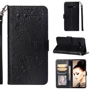 Imprinted Elephant Pattern Leather Wallet Case for Samsung Galaxy S10 Plus - Black