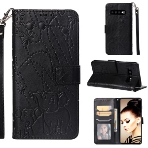 Imprinted Elephant Pattern Leather Wallet Case for Samsung Galaxy S10 - Black