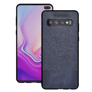 Cotton Cloth + PU Leather Splicing Coated TPU Case for Samsung Galaxy S10 - Blue