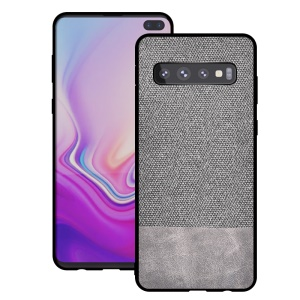Cotton Cloth + PU Leather Splicing Coated TPU Case for Samsung Galaxy S10 - Light Grey
