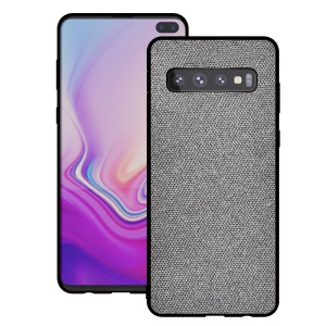 Cotton Cloth Coated TPU Case for Samsung Galaxy S10 - Light Grey