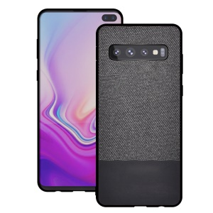 Cotton Cloth + PU Leather Splicing Coated TPU Case for Samsung Galaxy S10 - Dark Grey