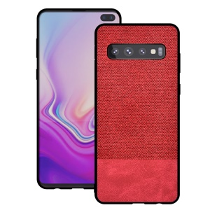 Cotton Cloth + PU Leather Splicing Coated TPU Case for Samsung Galaxy S10 - Red