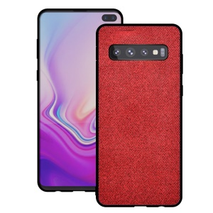 Cotton Cloth Coated TPU Case for Samsung Galaxy S10 - Red