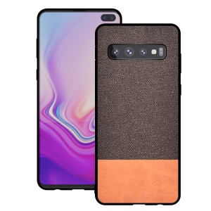 [Cotton Cloth + PU Leather Splicing] Coated TPU Mobile Cover for Samsung Galaxy S10 Plus - Coffee