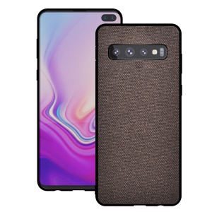 [Cotton Cloth] Coated TPU Mobile Cover for Samsung Galaxy S10 Plus - Coffee