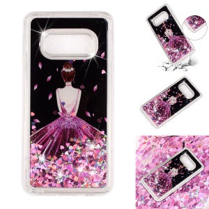 For Samsung Galaxy S10 Lite Moving Glitter Powder Sequins Patterned TPU Gel Back Case - Pretty Girl's Back