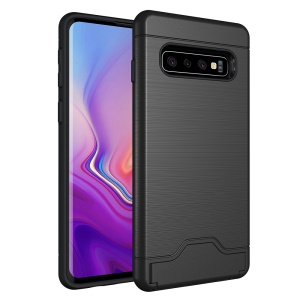Brushed PC + TPU Hybrid Case with Card Slot and Kickstand for Samsung Galaxy S10 - Black