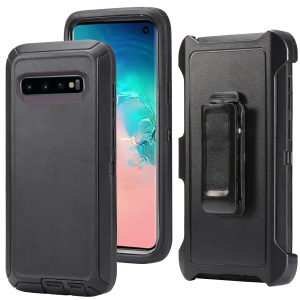 For Samsung Galaxy S10 Shockproof Drop-proof Dust-proof PC TPU Phone Casing with Belt Clip - All Black