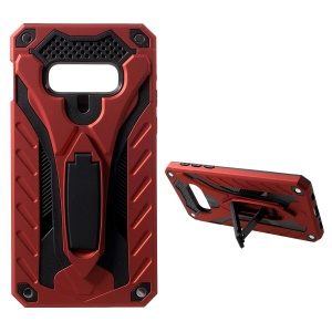 Drop-proof Rugged PC + TPU Hybrid Case with Kickstand for Samsung Galaxy S10e - Red