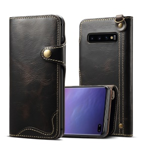 Genuine Wallet Leather Phone Cover with Lanyard for Samsung Galaxy S10 Plus - Black