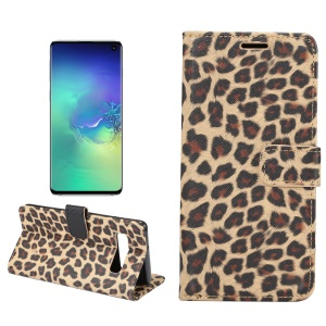 For Samsung Galaxy S10 Leopard Pattern Wallet Stand Leather Mobile Shell - Brown
