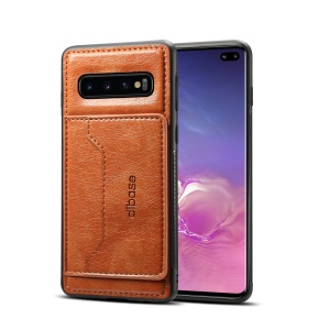 Crazy Horse Leather Coated Card Holder Kickstand TPU Cover for Samsung Galaxy S10 Plus - Brown