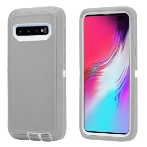 [Shockproof Drop-proof Dust-proof] PC + TPU Phone Back Case For Samsung Galaxy S10 Plus - White / Grey